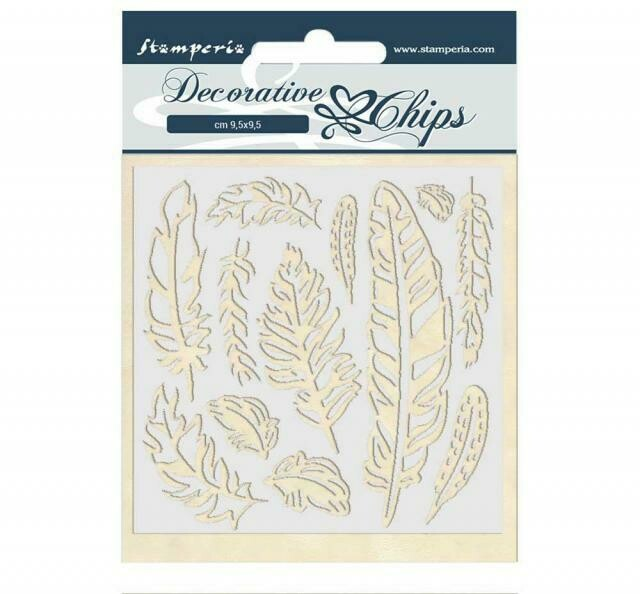 Stamperia Decorative Chips - 14x14 cm - Amazon Collection - Feather