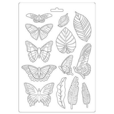 Stamperia A4 Soft Mould - Amazonia Collection - Leaves and Butterflies