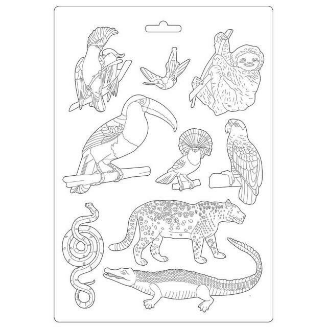 Stamperia A4 Soft Mould - Amazonia Collection - Animals