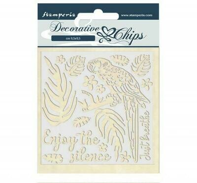 Stamperia Decorative Chips - 14x14 cm - Amazon Collection - Parrot