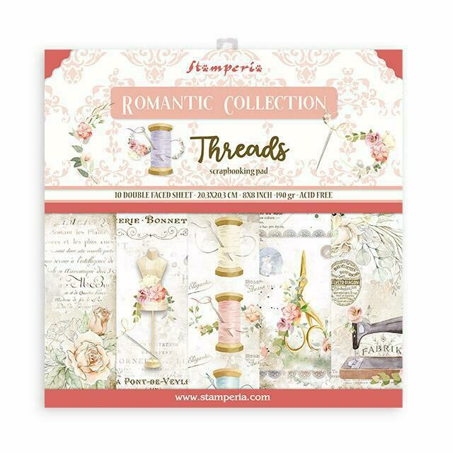 Romantic Collection - Threads - Stamperia Double-sided Cardstock 8'x8""