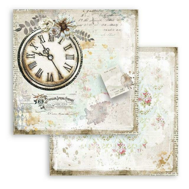 """Romantic Collection - Journal - Clock - Stamperia Double-sided Cardstock 12""""x12"""""""