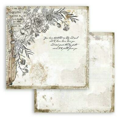 Romantic Collection - Journal - Corner w/Flowers - Stamperia Double-sided Cardstock 12