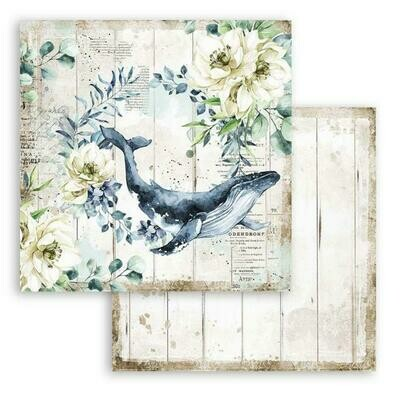 Romantic Collection - Sea Dream - Whale -  Stamperia Double-sided Cardstock 12