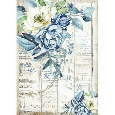 Stamperia A4 Rice Paper Sheet - Romantic Collection - Sea Dream - Blue Flower