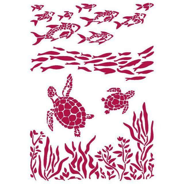 Stamperia Stencil 21x29,7 cm - Romantic Collection - Sea Dream - Fish and Turtles