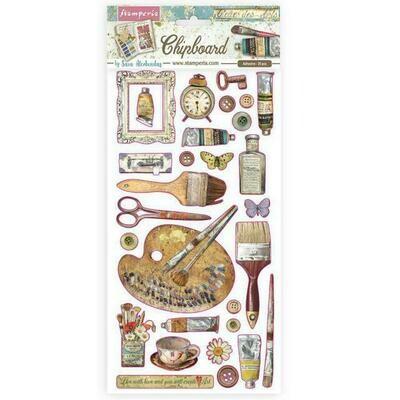 Stamperia Chip Board 15x30cm - Atelier des arts - Decorations