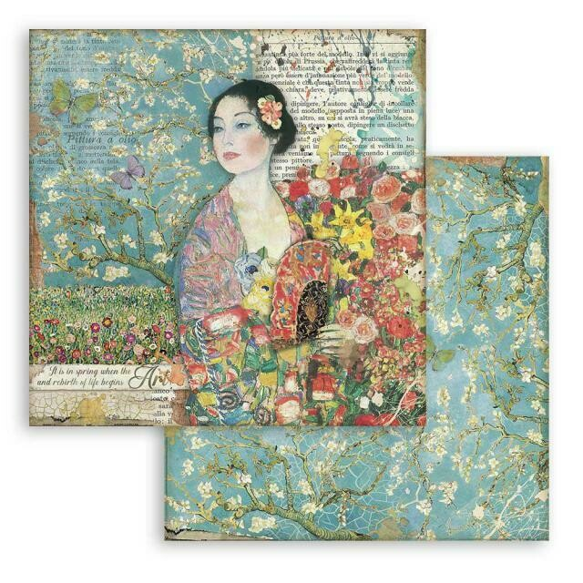 """Atelier des arts - Dame with Fan - Stamperia Double-sided Cardstock 12""""x12"""""""