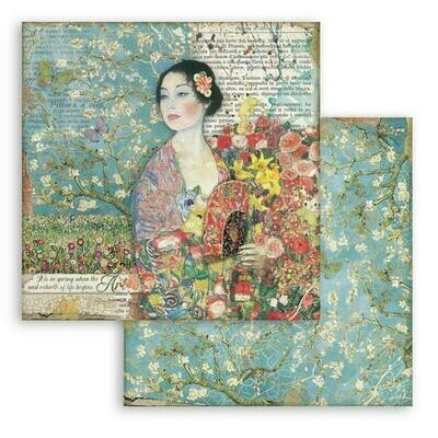 Atelier des arts - Dame with Fan - Stamperia Double-sided Cardstock 12