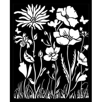 Stamperia Thick Stencil 20x25 cm - Atelier des arts - poppy and Flower
