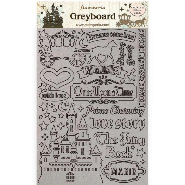 Stamperia - Sleeping Beauty - A4 Greyboard - 2m - Castle