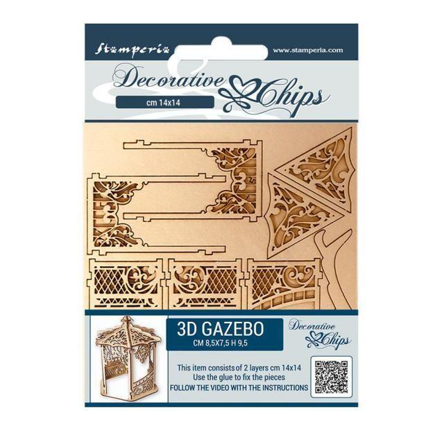 Stamperia - Decorative Chips - 14x14cm - Sleeping Beauty - Gazebo - 2 pcs