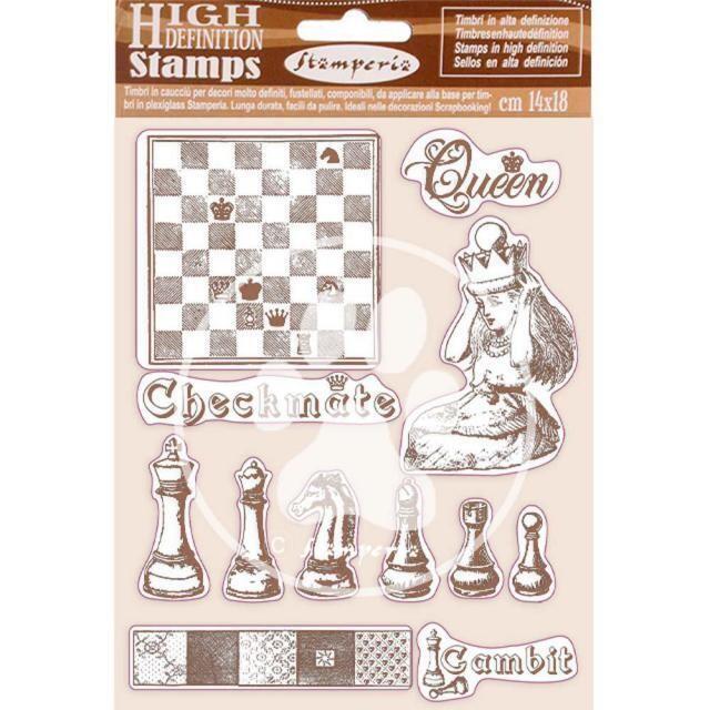 Stamperia - Natural Rubber Stamp - 14x18cm - Alice Checkmate
