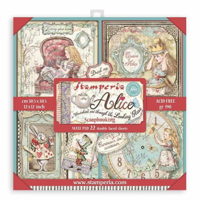 """Stamperia - Double-sided Paper Pad - 12""""x12"""" - Alice in Wonderland"""
