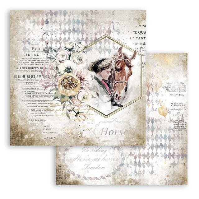 """Stamperia - Double-sided Cardstock - 12""""x12"""" - Romantic Collection - Horses - Lady with Horse"""