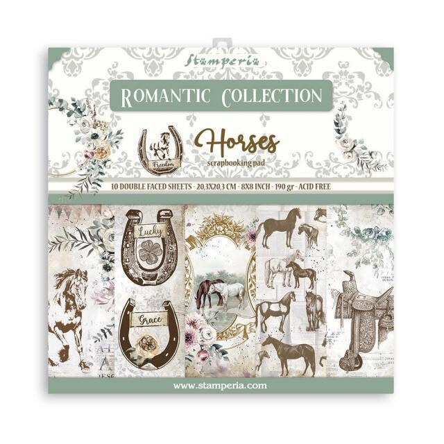 """Romantic Collection - Horses - Stamperia - Double-sided Paper Pad - 8""""x8"""""""