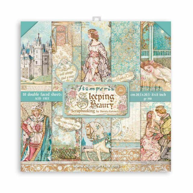 """Stamperia - Double-sided Paper Pad - 8""""x 8"""" - Sleeping Beauty"""