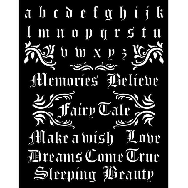 Stamperia - Thick Stencil - 20x25 cm - Sleeping Beauty - Alphabet and Quotes