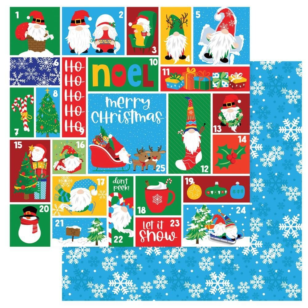 """PhotoPlay  - Double-sided Cardstock 12""""x12"""" - Gnome for the holidays Christmas - Countdown"""