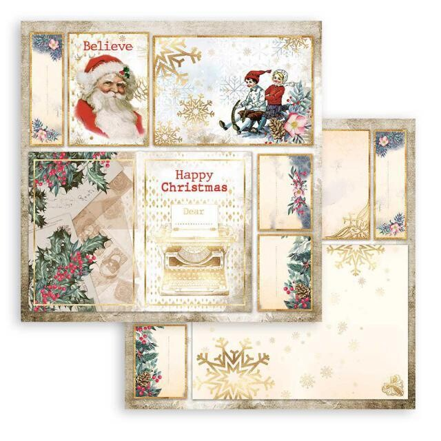 """Stamperia - Double-sided Cardstock - 12""""x12"""" - Romantic Christmas - Santa Claus"""