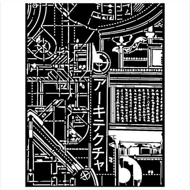 Stamperia - Thick Stencil - 20x25cm - Sir Vagabond in Japan -Texture mechanism