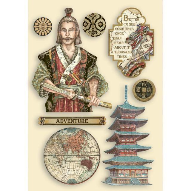 Stamperia - Coloured Wooden Shapes - A5 - Sir Vagabond in Japan - Samurai