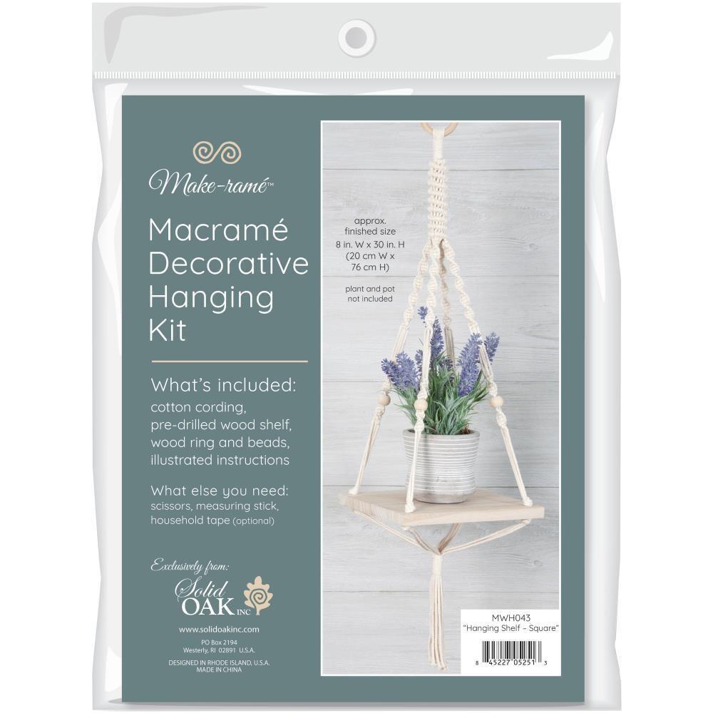 Solid Oak Macrame Hanging Kit - Hanging Shelf - Square