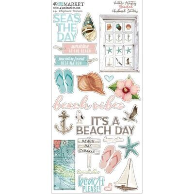 """49 and Market - Beached - Chipboard Stickers  - 6""""X12"""""""