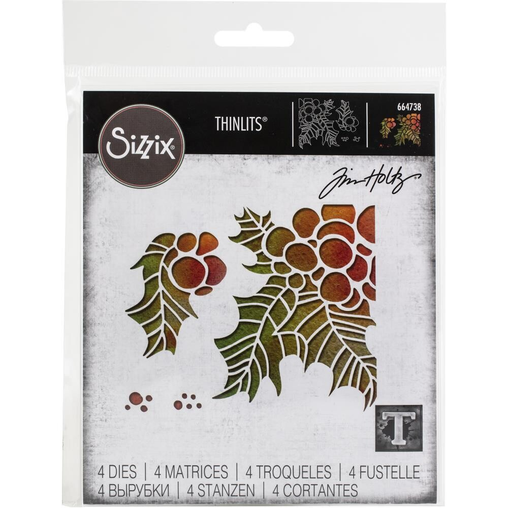Sizzix Thinlits Dies By Tim Holtz - Holly pieces