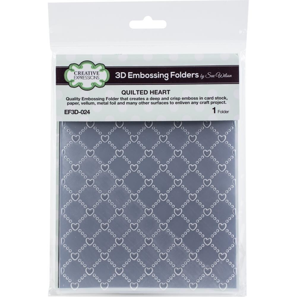 """Creative Expressions - 3D Embossing Folder - 5.75""""x7.5"""" - Quilted Heart"""