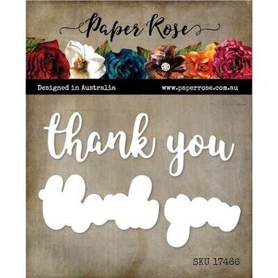 Paper Rose - Thank you - Layered Metal Word Die