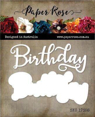 Paper Rose - Birthday - Layered Metal Word Die