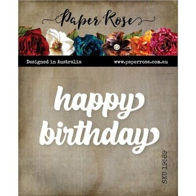 Paper Rose - Happy Birthday - Chunky Script Metal Word Die