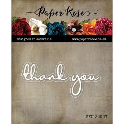 Paper Rose - Thank You - Fine Script Layered Metal Word Die