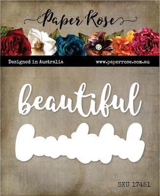 Paper Rose - Beautiful - Layered Metal Word Die