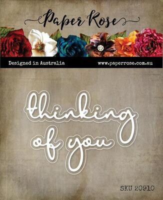 Paper Rose - Thinking of You - Fine Script Layered Metal Word Die