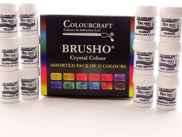 Brusho Colour Assorted - 12 x 15g Pack