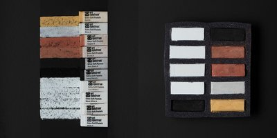 Art Spectrum Extra Soft Square Pastels - Blacks, Whites & Metallics - Set of 10