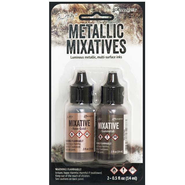 Tim Holtz® Alcohol Ink - Rose Gold & Gunmetal Metallic Mixatives
