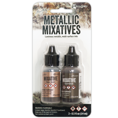 Tim Holtz® Alcohol Ink - Rose Gold & Gunmetal Metallic Mixatives