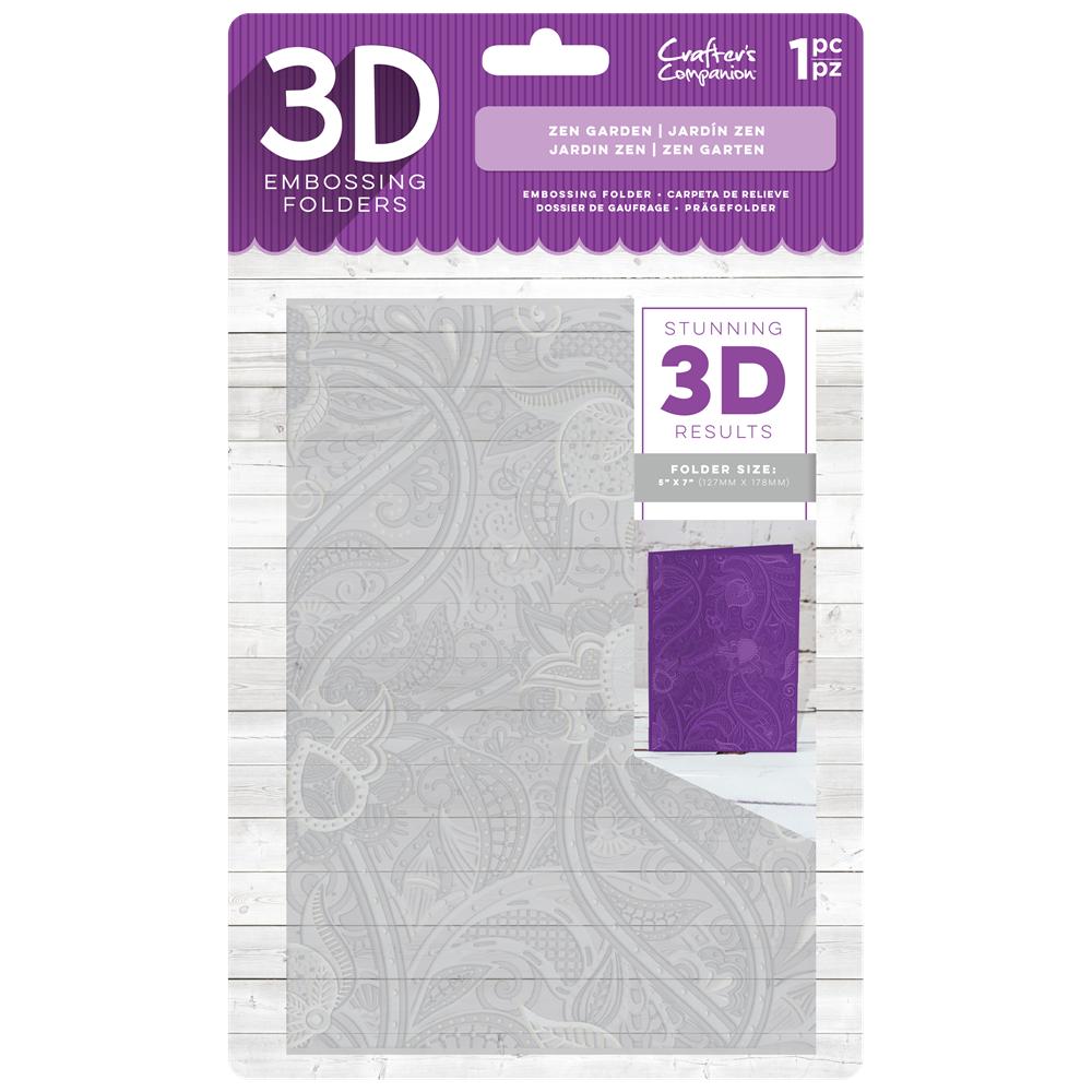"""Crafter's Companion 5"""" x 7"""" 3D Embossing Folder - Zen Garden"""