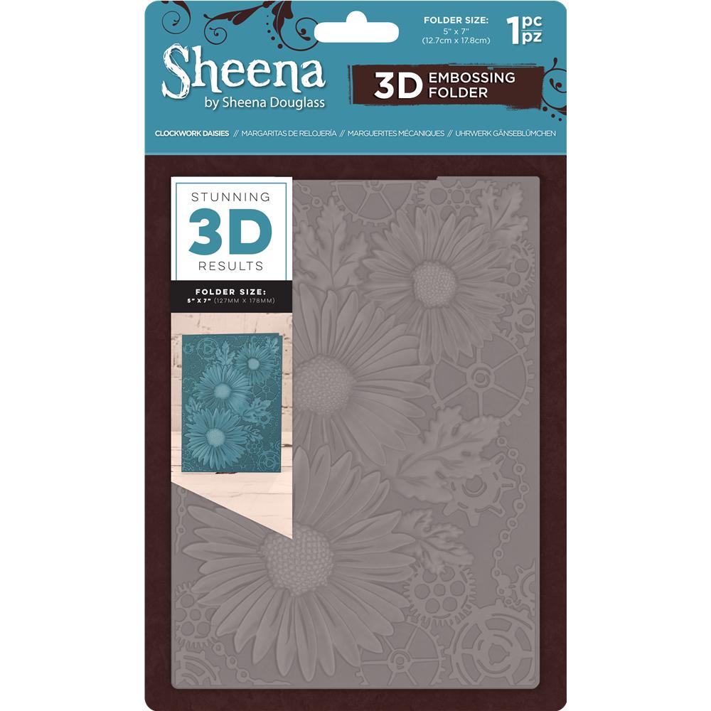 """Sheena Douglass 5"""" x 7"""" 3D Embossing Folder - Clockwork Daisies"""
