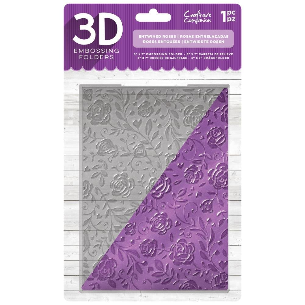 "Crafter's Companion 5"" x 7"" 3D Embossing Folder - Entwined Roses"