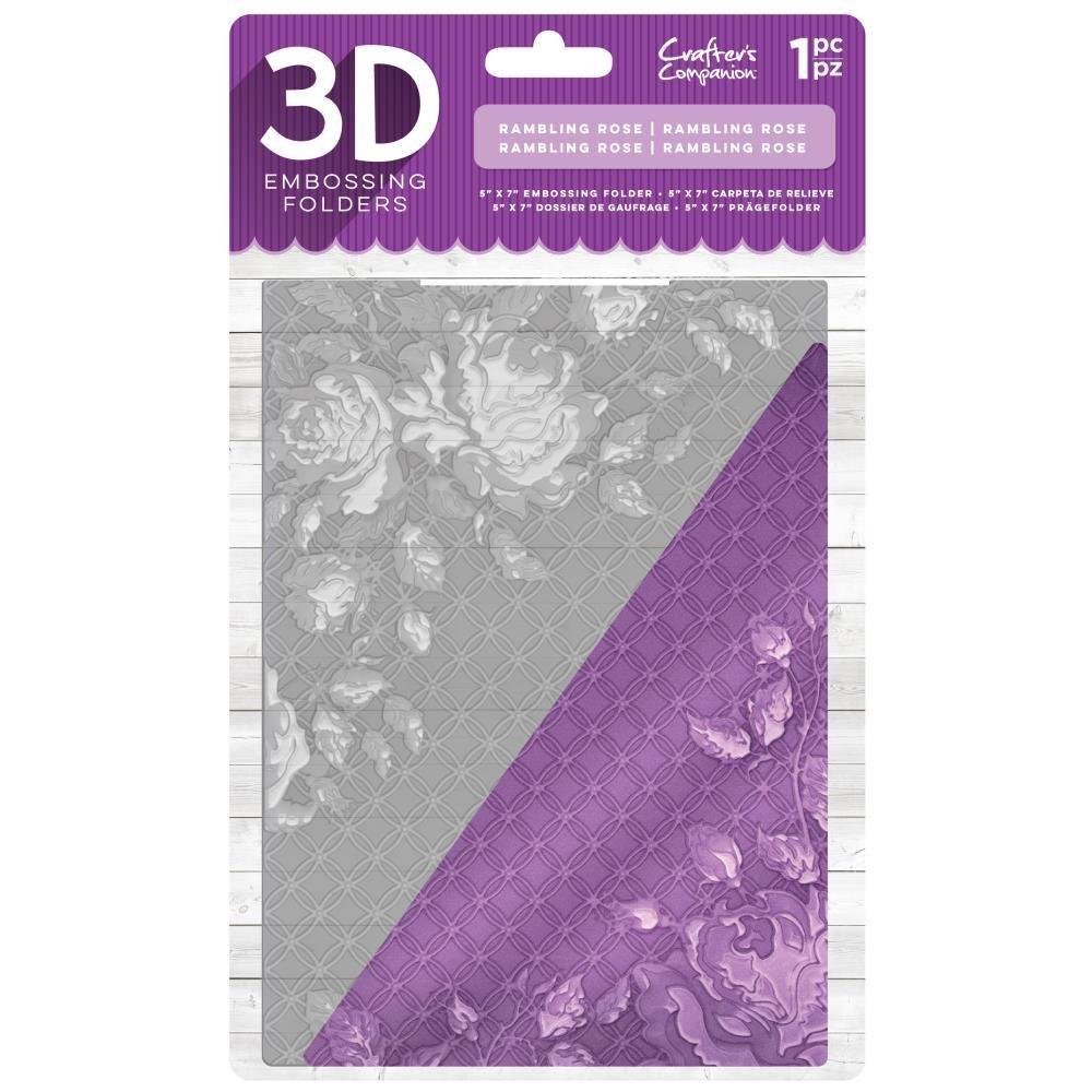 "Crafter's Companion 5"" x 7"" 3D Embossing Folder - Rambling Rose"