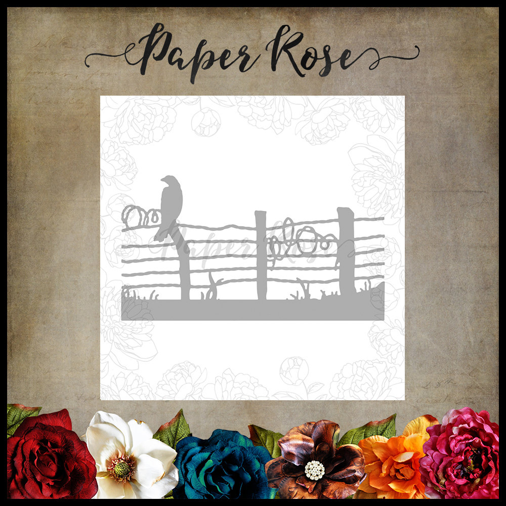 Paper Rose - Bird on Wire Fence Die