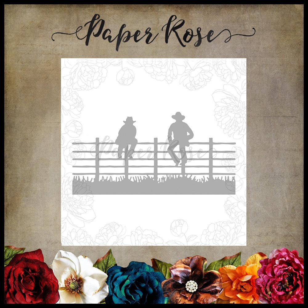 Paper Rose - Men Sitting on Fence Metal Die