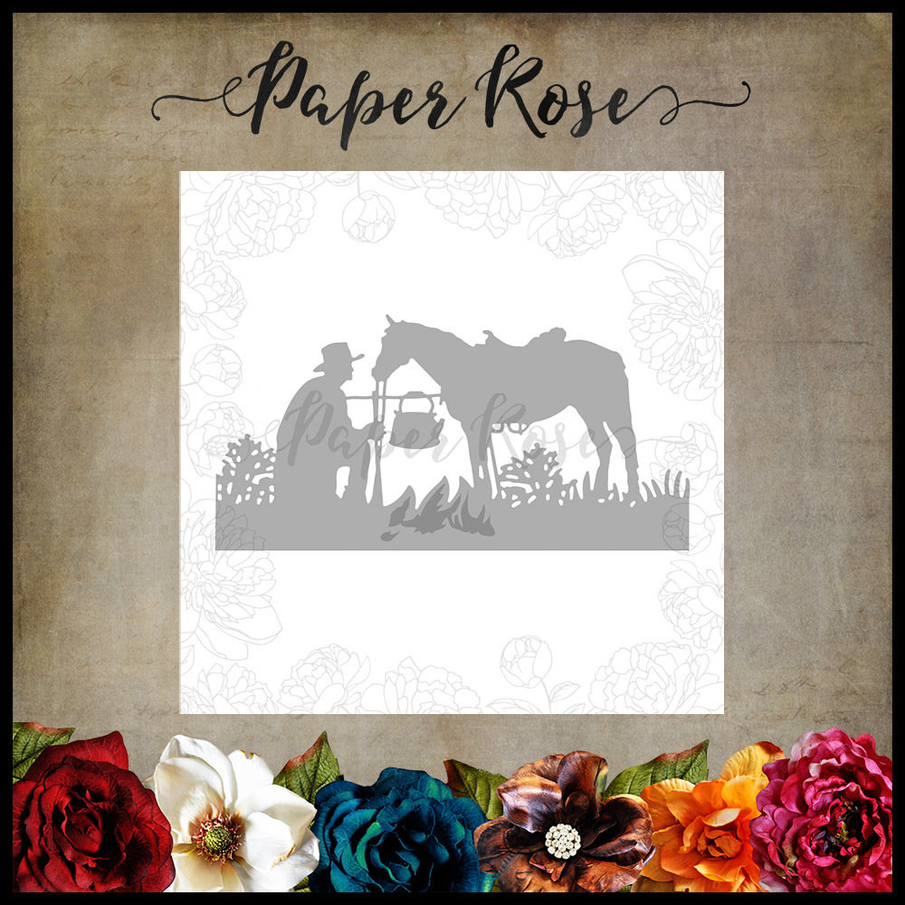 Paper Rose - Stockman with Horse Metal Die