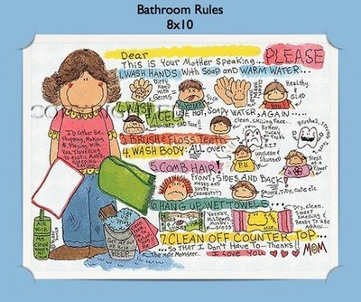 Bathroom Rules  - Personalized Cartoon Gift