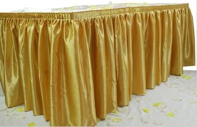 TABLESKIRTING BOX PLEAT POLY GOLD 1/1EACH