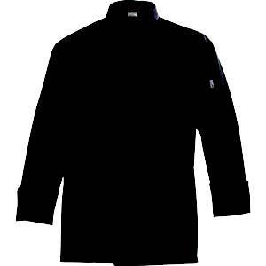 CHEF COAT LONG SLEEVE BLACK MED 1/1EACH